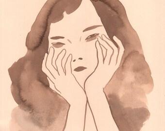 Girl 3 - original walnut ink painting on cream paper