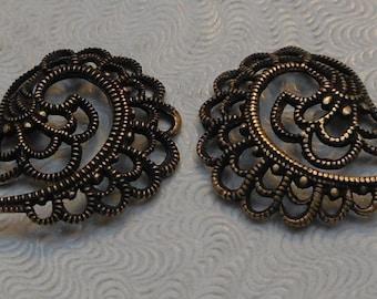 LuxeOrnaments European Filigree Oxidized Brass Pendants (Qty 1 left-right matched pair) 19x16mm A-30569-B