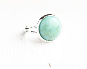 Faux Turquoise Ring / Silver Turquoise Ring for Women Robins Egg Blue Stone Look Adjustable Silver Boho Bohemian Style Bridesmaids Gifts
