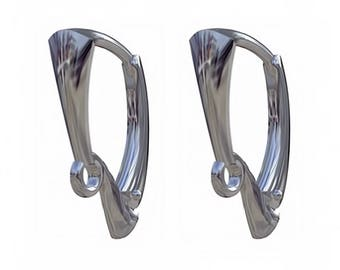 Sterling Silver Leverback Earring Findings 17 x 11 mm Nickel Free