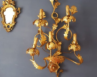 SALE Large Florentine Tole Wrought Iron Wall Sconce Antique Italian Gold Leaf Tole 5 light Gilt Metal Sconce Wall Candelabra 37 inches