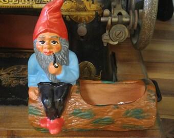 Vintage German Elf on a Log Planter!