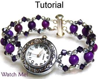 Beaded Watch Bracelet Beading Pattern - Jewelry Making Tutorials - Beadweaving - Simple Bead Patterns - Watch Me! #1580