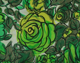 Pieces Vintage Silk fabric mod Stylized roses floral fabric Green floral Silk flowers solid green silk fabric scarves for women