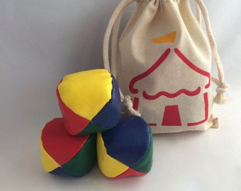 Carnival Juggling Balls in Reusable Circus Bag, Circus Party Favors, Circus Tent Muslin Drawstring Bag
