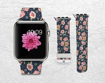 Vintage Apple Watch Band for Series 1 2 3, Leather Strap Wrist Band with Metal Clasp 38mm 42mm Adapter - Floral flowers pattern -P19
