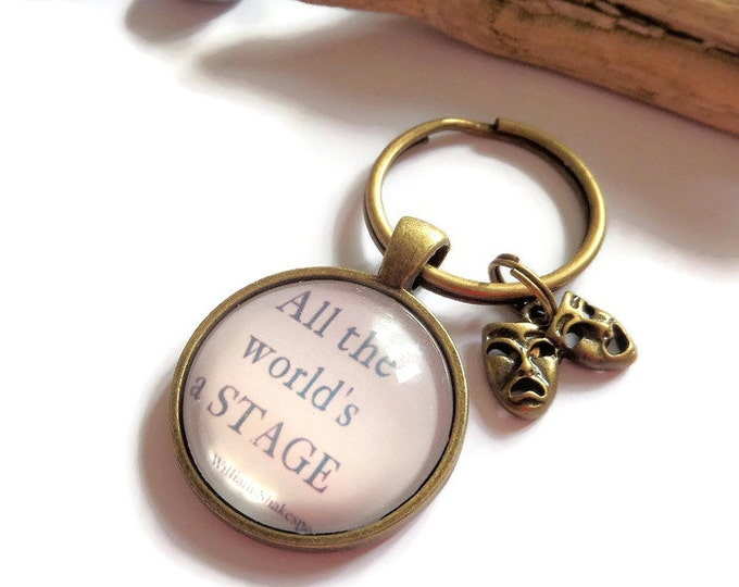 "SHAKESPEARE inspired ""all the world's a stage"" 25mm 1"" glass dome drama theatre theater fan gift jewellery UK"