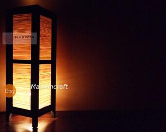 Asian Oriental Craft Bamboo Japanese Lamp Zen Bedside Lamp Floor Table Lamp  Paper Japanese Light Lamp
