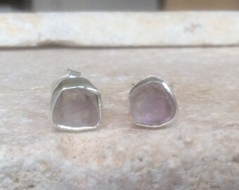 Raw Stone Studs, Gift for Her, Raw Kunzite Stud Earrings, Raw Stone Silver Stud Earrings, Raw Gemstone Studs, Raw Kunzite Silver Earrings