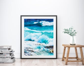 Waves Art Print, Wave Art, Wave Print, Ocean Print, Ocean Art, Ocean Decor, Printable Wall Art