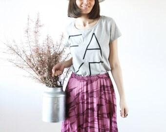 Purple pleated skirt Marbled pattern High waist skirt casual vintage style  80s (M)