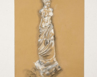 SALE ,Venus de Milo,original drawing made with pencils,white chalk and charcoal on a kraftpaper size 13.5x19.5inches,wall art