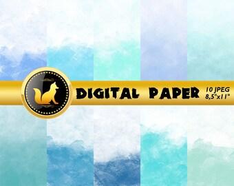 Blue Watercolor,Blue Paper,Watercolor Scrapbook Paper,Blue Watercolor Background,Watercolor Backdrop,Blue digital paper,Boy scrapbook paper