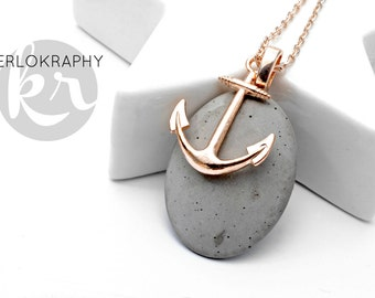 Long link chain with pendant ~ anchor love ~ concrete