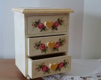 Hand Painted Jewellery Box, Folk Art Trinket Box Shabby Chic Girls Storage