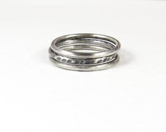 Oxidized Silver Ring, Sterling Silver Rings Set of Three, Silver Thumb Ring, Stacking Rings, Thin Stackable Rings, Hammered Silver Ring