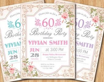 60th Birthday Invitation Women Surprise Birthday. Adult Elegant Floral flower. Purple, Pink, Blue, any color. Printable digital.