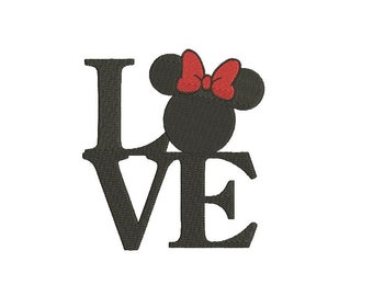 25 Sizes Disney Minnie Mouse Head Ears Bow Love Heart Design Embroidery World Fill Machine Instant Download Digital File EN4047F2