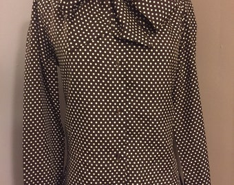 Vintage brown polka dot Sears blouse/Buttonup/Size:Small