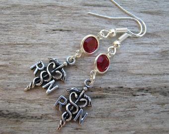 RN Birthstone Earrings, Caduceus Earrings, Registered Nurse Earrings, Personalized Swarovski Birthstone, Nursing Gift,  READY To SHIP
