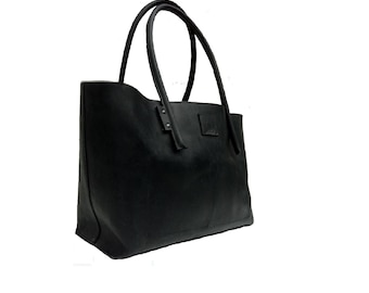 Black Big leather bag shopping bag shopper leather shopper bag Ledershopper bag used look handmade
