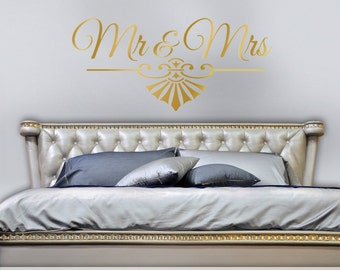 Gold Bedroom Decor, Mr and Mrs Wall Decor, Mr and Mrs Bedroom Wall Decal, Art Deco Mr and Mrs, Removable Wall Decal (0179c17v)