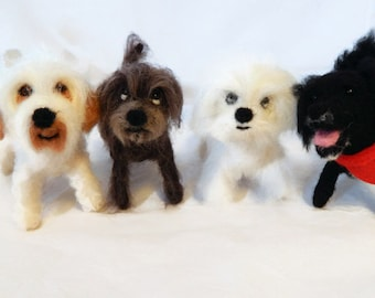 FOUR Custom needle felted dogs  - puppy soft sculpture -  small size - Toy Dog terrier art - Crossbreed sculpture - Made In Scotland