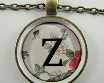 "Initial ""Z"" Necklace -- Spring pattern Personalized Letter Z Necklace, Wedding Necklace, Bridesmaid Necklace, Hen Night Necklace, Friendship"