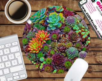 Succulent Print Circle Mouse Pad - Mousepad - CoWorker Teacher Gift - Colorful Succulents
