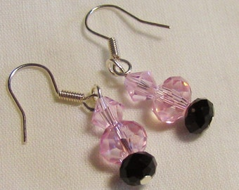 Romantic Pink Crystal Earrings sterling silver ear hooks - Pink black faceted dangle beads