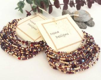 Garnet Long Seed Bead Stretch Bracelet, Necklace, January Birthstone Colors