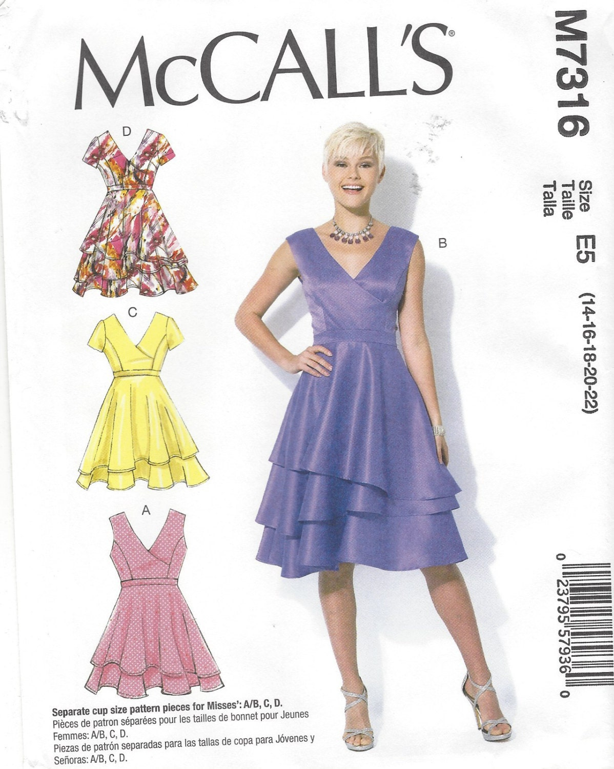 Womens Asymmetrical Tiered Dresses McCalls Sewing Pattern M7316 Size ...