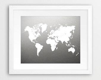 world map print grey map print white world map white grey art