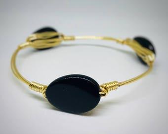 Black Oval Beaded Wire Wrapped Bangle Bracelet