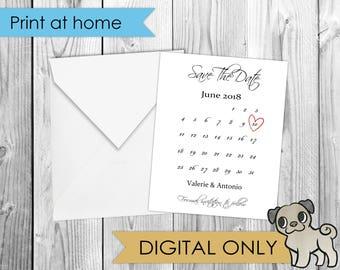 Save the Date Calendar 4x5 Card *DIGITAL*