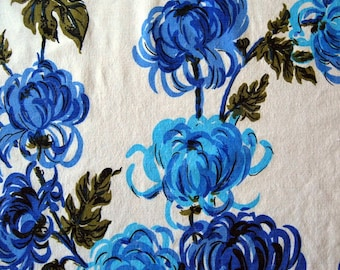 Blue Mums Tablecloth, circa 1950s