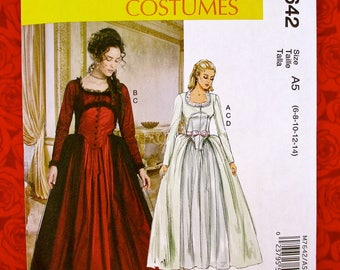 McCall's Sewing Pattern M7642, 1700's Georgian Gown, Fitted Bodice Full Skirt, Size 6 8 10 12 14, Historical Reenactment Costume Dress UNCUT