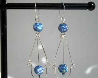 Blue  Enameled copper bead earrings
