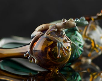 Frog Large Glass Spoon Pipe in Your Choice of Color