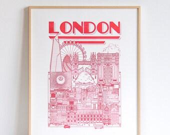 London Union Jack limited / 50 x 40 / Illustration / travel / poster / city / wall decor / Map / Design