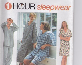 1990s Simplicity  Sewing Pattern No 9391 for Misses, Mens,  Teens Pyjamas, Nightshirt Size 42-48 LG-XL, Uncut Factory Folded