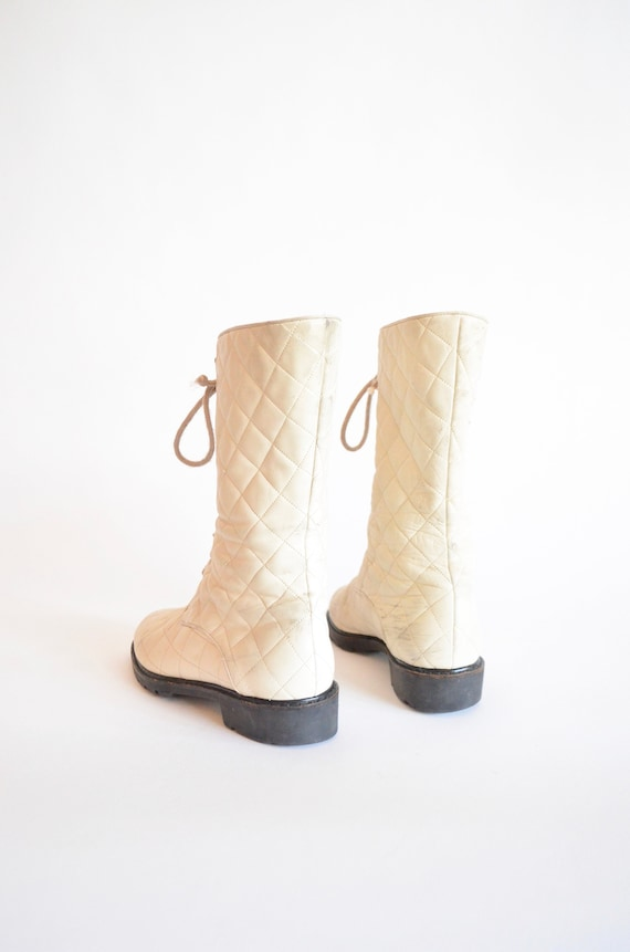 leather Vintage 1990s QUILTED 7 cream boots PBZfBtW16n