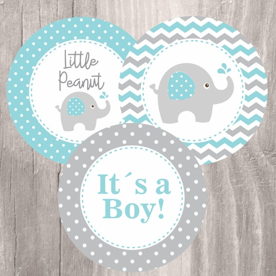 Elephant Baby Shower Printable Centerpieces Teal and Grey