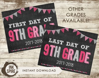 Printable First and Last Day of 9th Grade School Chalkboard Sign, Back to School Sign, School Chalkboard Poster, INSTANT DOWNLOAD