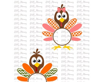 Thanksgiving Turkey For Monogram SVG, Cut File, Cricut File, Silhouette SVG