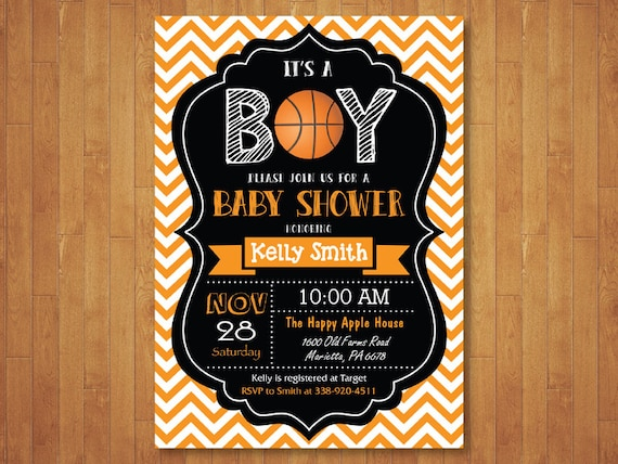Beautiful Basketball Baby Shower Invitation. Boy Baby Shower Invitation.