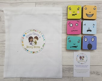 Once Upon a Story Stone/Emotions/Storytelling Stones/ Story Stones/ Handmade / Montessori tool / Preschool/ Primary school