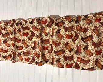 Western cowboy boots brown curtain Valance