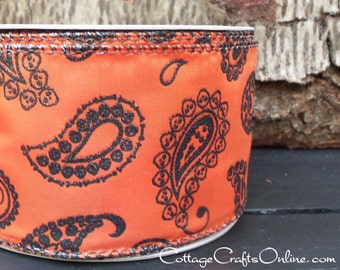 "Halloween Wired Ribbon, 2 1/2"", Black and Orange Glitter Paisley Satin - THREE YARDS - ""Skeleton Paisley Orange"" Wire Edge Ribbon"