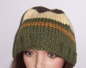 Wool Beanie, Fishermans Hat, Hand Knitted, Peruvian Highland Wool, Green, Gold, Cream, Brown, Unisex Beanie